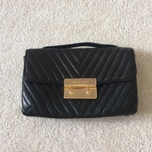 Micheal Kors black leather bag on chain